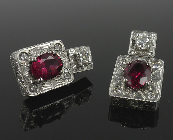 Rubelite and Platinum Earrings